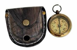 Brass Pocket Compass Nautical Locket Compass With Leather Box Set Of 20 Unit