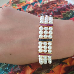 Solid 18k Gold Pearl Ruby Link Chain Beaded Bracelet Handmade Valentine Jewelry