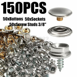 150pcs 3/8and039and039 Boat Marine Canvas Fabric Snap Fastener Cover Button Socket Kits