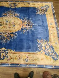 Antique Handwoven Chinese Blue Color Rug Abussan Design Size 9and0397andtimes13and039 Cir 1930s