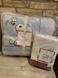 Pottery Barn Kids Peanuts Snoopy Woodstock Twin Quilt And Sham Bedding Set New