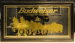 """Rare Framed 15""""x 27"""" Gilded Budweiser Beer Clydesdale Horses W/ Wagon Mirror"""