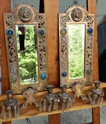 Antique Jeweled Candle Sconces Victorian Beveled Mirrored Coppered Cast Iron