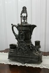 Antique American Silver Plated Iced Water Lemonade Jug Stand Simpson Hall Miller