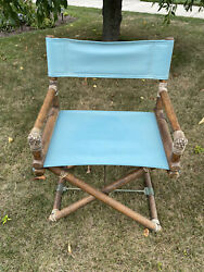 1950and039s Mcguire Turquoise Directors Chair Oak Brass Leather Nice
