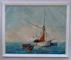 Nautical Seascape Painting Titled At Anchor Oil Impasto By Artist R. Meyer