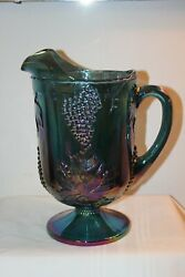 Indiana Carnival Glass Harvest Grape And Leaf Pattern Blue Green Pitcher 11 Euc