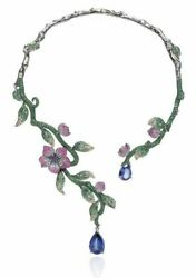 925 Sterling Silver Pink Flower Leaf Blue Pear Drop Front Open High Necklace