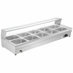 Bain Marie Food Warmer Commercial Food Steam Table 10 Pans W/glass Shield 1/2pan