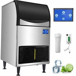 298lbs Commercial Ice Maker Industrial Ice Machine 135kg /24h 121lbs Ice Storage