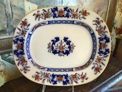 Antique English Minton Blue And White 19thc Platter 12.75 Inches Circa 1880