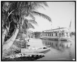 1904 Photo Of House Boating On The Miami River Florida U