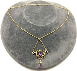 Antique Art Nouveau 15ct Gold Amethyst Stone And Seed Pearl Lavaliere Necklace