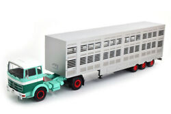 Scale Model Truck 143, Mercedes-benz Lps 1632 C A Semi-trailer With Cattle 1970