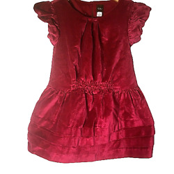 Tea Collection Dunrobin Sz 3t Red Velvet Ruffle Sleeve Tiered Skirt Holiday
