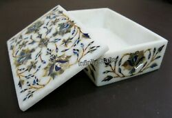 Marble Box With Abalone Shell Stone Inlaid Trinket Box Intricate Work 6x4 Inches
