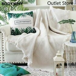 White Knitted Multi-function Throw Blanket Bedspead With Tassels Sofa Bed Couch