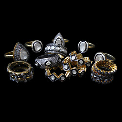 Natural Rose Cut Diamond And Polki 925 Sterling Silver Handmade Ring Lot Jewelry