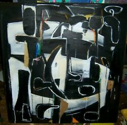 Original Modern Abstract Painting Black And White And039when The Night Comesand039and039 Arceri