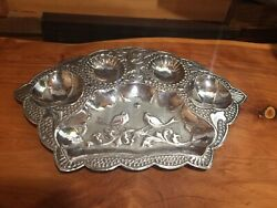 Sterling Silver Repousse Floral Birds Dish Plate Bowl Hammered Antique