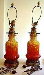 Vintage Rainbow Mosaic Lamps Pineapple Finials 2 Violet Red Orange Yellow As Is