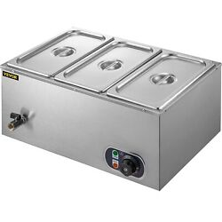 Food Warmer Bain Marie Steam Table Steamer Wet Heat 3-pan Heavy Gauge Pans 850w