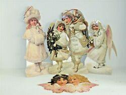 Vintage Lot 4 Christmas Snow Angel Easel Back Glitter Stand Up Cards