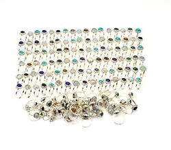 Wholesale 151pc 925 Solid Sterling Silver Green Malachite Mix Stone Ring Lot I30