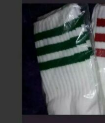 Retro 80s Men#x27; Classic Green and White Triple Stripes Retro High Tube Socks NOS