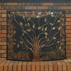 Large Single Panel Fireplace Screen Iron Cover Portable Safety Durable Fence