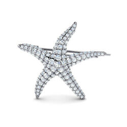 Christmas 2.70ct Natural Round Diamond 14k Solid White Gold Star Fish Brooch Pin