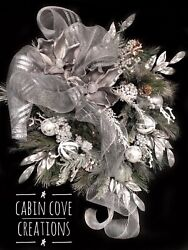 Magnolia Christmas Wreath Gray Silver, Holiday Mantel Swag Available Separately