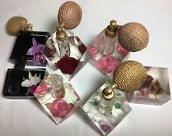 6 Vintage Mid Century 1950s Lucite Perfume Atomizer Bottles, Roses, Orchids