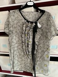 Marc Jacobs Collection Gray Daisy Print Ruffled Tie Blouse Sz 0 Fits 2-4-6