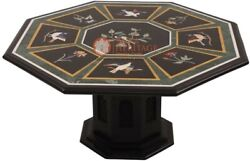 30 Marble Black Top Coffee Table With 18 Tall Stand Birds Inlaid Veterans Gift