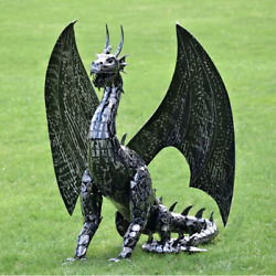 All Metal Large Dragon Sculpture 57 Inch H Statue Home Business Medieval Decor