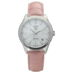 Tag Heuer Carrera Wv2212 Steel 36mm Diamonds Pink Leather Automatic Womens Watch