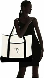 DALIX Monogram Bag Personalized Totes For Women Open Top Black T Size Large $9.99