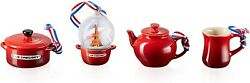Le Creuset Christmas Tree Miniature Ornament Collection 4 Cherry Red Snow Globe