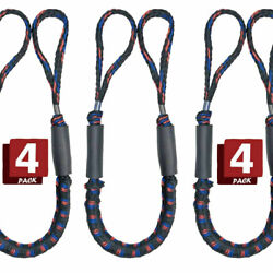 4pcs Premium Bungee Stretch Dock Lines Boat Marine Hq Mooring Rope Cords