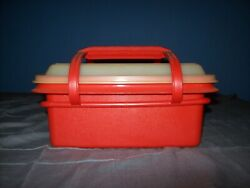 Tupperware Red Square Away Sandwich Container With Handle And Lid Good Condition