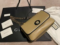 Nwt Marina Women's Leather Small Shoulder Bag Brown Black Gold Chain Italy