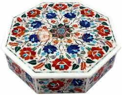 12x12x4 Marble Jewelry Box Carnelian Inlay Marquetry Floral Art Veterans Gift
