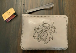 NWT Patricia Nash Cassini Wristlet Gray Leather Studded Floral $72.00