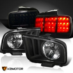 For 2005-2009 Ford Mustang Headlights+glossy Black Sequential Led Tail Lamps