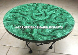 Green Marble Dining Table Top Mosaic Malachite Inlay Occasion Garden Decor H2057