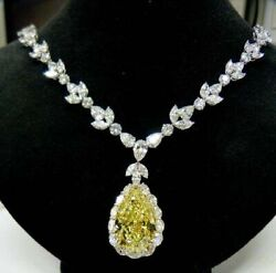 925 Sterling Silver Yellow Pear Drop Halo Style White Cz Wedding Bridal Necklace