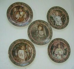 Angel Collectible Plates Bradford Exchange Set Of 5 Gardens Of Innocence Mint
