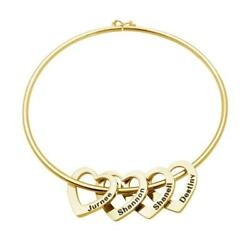 Personalized Women Bracelet With Heart Charms Names Engraved Mother#x27;s Day Gift $13.49