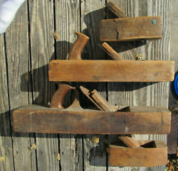 Antique History 21 16 And 2 - 8 Wood Jointer Plane Lot For Part Rough As Is